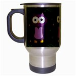 Halloween purple owls pattern Travel Mug (Silver Gray)