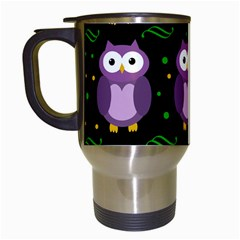Halloween Purple Owls Pattern Travel Mugs (white)
