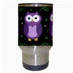Halloween purple owls pattern Travel Mugs (White) Center