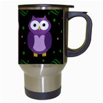 Halloween purple owls pattern Travel Mugs (White) Right