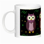 Halloween purple owls pattern Night Luminous Mugs