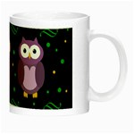 Halloween purple owls pattern Night Luminous Mugs Right