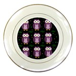 Halloween purple owls pattern Porcelain Plates