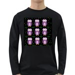 Halloween purple owls pattern Long Sleeve Dark T-Shirts