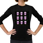 Halloween purple owls pattern Women s Long Sleeve Dark T-Shirts