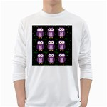 Halloween purple owls pattern White Long Sleeve T-Shirts