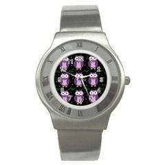 Halloween purple owls pattern Stainless Steel Watch
