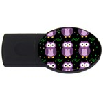 Halloween purple owls pattern USB Flash Drive Oval (4 GB)  Front