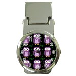 Halloween purple owls pattern Money Clip Watches