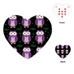 Halloween purple owls pattern Playing Cards (Heart)