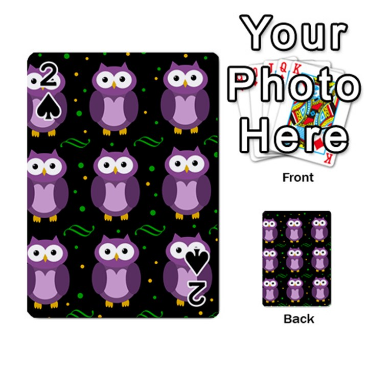 Halloween purple owls pattern Playing Cards 54 Designs