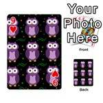 Halloween purple owls pattern Playing Cards 54 Designs  Front - Heart9