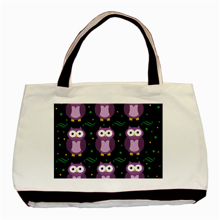 Halloween purple owls pattern Basic Tote Bag
