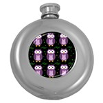 Halloween purple owls pattern Round Hip Flask (5 oz) Front