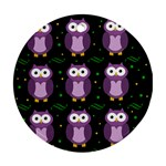 Halloween purple owls pattern Round Ornament (Two Sides)  Back
