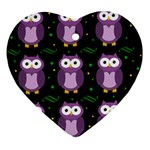 Halloween purple owls pattern Heart Ornament (2 Sides)