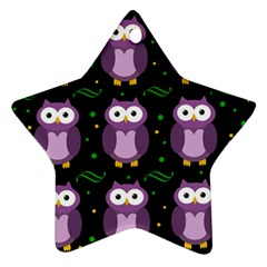 Halloween Purple Owls Pattern Star Ornament (two Sides)