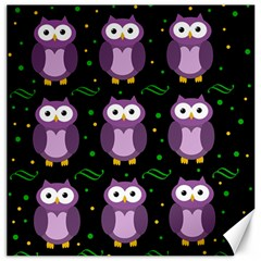 Halloween Purple Owls Pattern Canvas 12  X 12   by Valentinaart