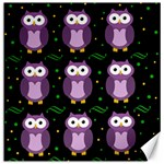 Halloween purple owls pattern Canvas 16  x 16