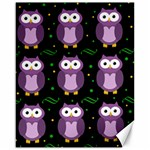 Halloween purple owls pattern Canvas 16  x 20