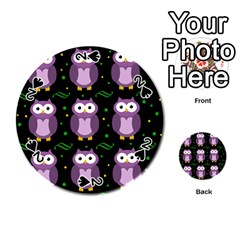Halloween Purple Owls Pattern Playing Cards 54 (round)  by Valentinaart