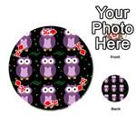 Halloween purple owls pattern Playing Cards 54 (Round)  Front - DiamondK