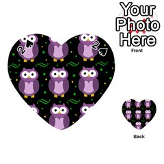 Halloween Purple Owls Pattern Playing Cards 54 (heart)  by Valentinaart
