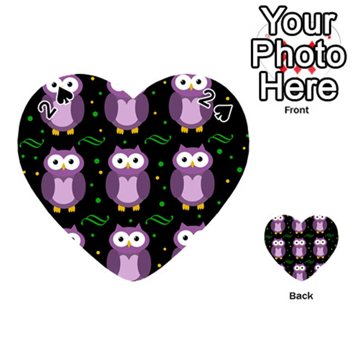 Halloween purple owls pattern Playing Cards 54 (Heart)