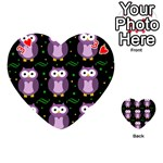 Halloween purple owls pattern Playing Cards 54 (Heart)  Front - Heart3