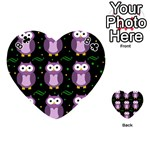 Halloween purple owls pattern Playing Cards 54 (Heart)  Front - Club8