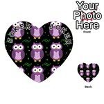 Halloween purple owls pattern Playing Cards 54 (Heart)  Front - Joker1