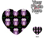 Halloween purple owls pattern Playing Cards 54 (Heart)  Back