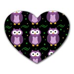 Halloween purple owls pattern Heart Mousepads Front