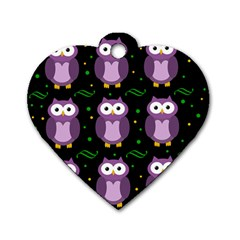 Halloween Purple Owls Pattern Dog Tag Heart (two Sides)