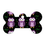 Halloween purple owls pattern Dog Tag Bone (Two Sides)