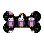 Halloween purple owls pattern Dog Tag Bone (Two Sides) Back