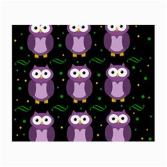 Halloween Purple Owls Pattern Small Glasses Cloth (2 Side) by Valentinaart