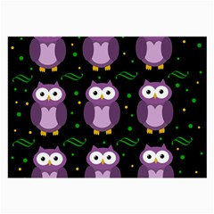Halloween Purple Owls Pattern Large Glasses Cloth by Valentinaart