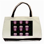 Halloween purple owls pattern Basic Tote Bag (Two Sides) Back