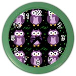 Halloween purple owls pattern Color Wall Clocks