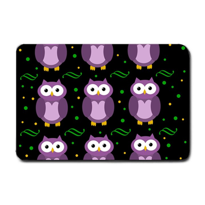 Halloween purple owls pattern Small Doormat