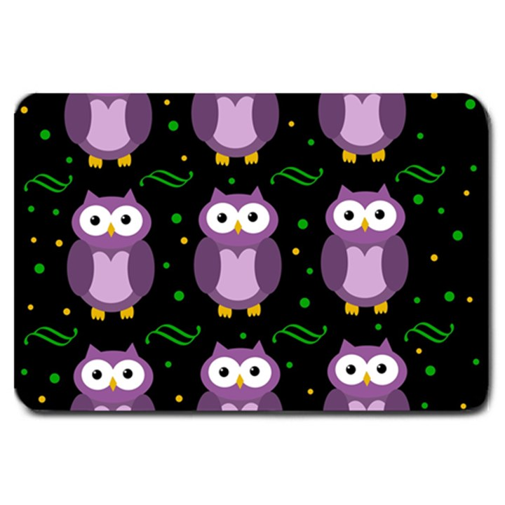 Halloween purple owls pattern Large Doormat