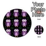 Halloween purple owls pattern Multi-purpose Cards (Round)  Back 54