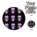 Halloween purple owls pattern Multi-purpose Cards (Round)  Back 19