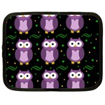 Halloween purple owls pattern Netbook Case (Large) Front