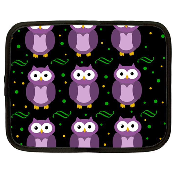 Halloween purple owls pattern Netbook Case (Large)
