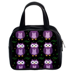 Halloween Purple Owls Pattern Classic Handbags (2 Sides)