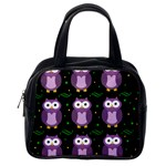 Halloween purple owls pattern Classic Handbags (2 Sides) Back