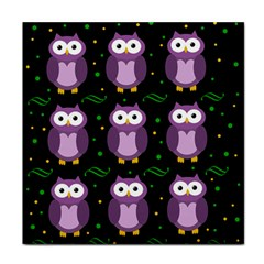 Halloween Purple Owls Pattern Face Towel by Valentinaart