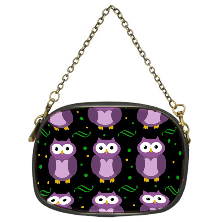 Halloween purple owls pattern Chain Purses (One Side)